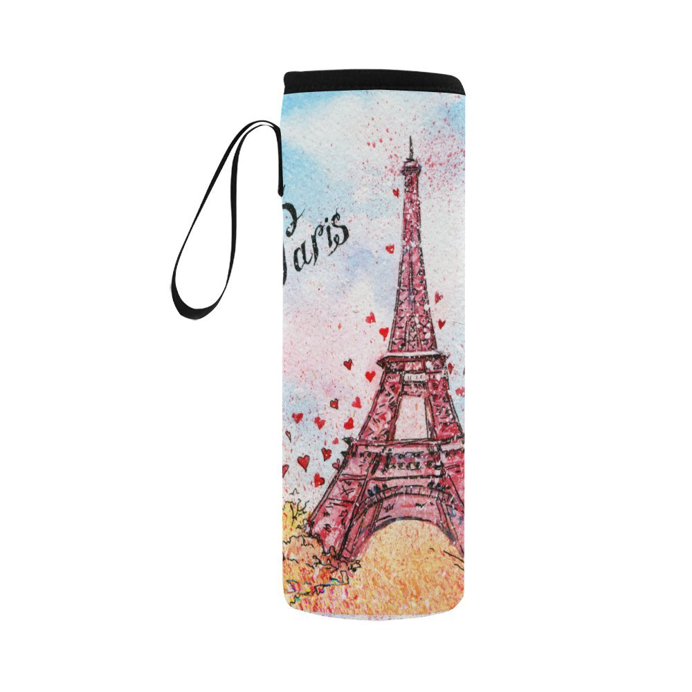 InterestPrint Spring Eiffel Tower Love Neoprene Water Bottle Sleeve Insulated Holder Bag 16.90oz-21.12oz, Paris Red Hearts Sport Outdoor Protable Cooler Carrier Case Pouch Cover with Handle