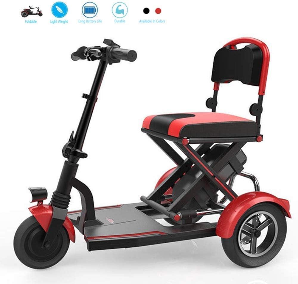 Yuiop Mini Triciclo eléctrico Plegable Silla de Ruedas eléctrica Personas de Edad Avanzada con discapacidad Hogar Motor sin escobillas Scooter Batería de Litio iluminada,Rojo