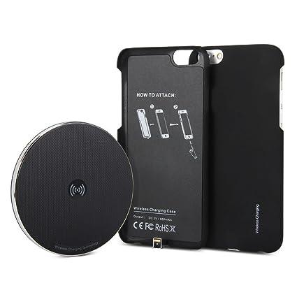 GMYLE Conjunto de Cargador inalámbrico 2 en 1 para iPhone 6, Almohadilla cargadora inalámbrica Qi Funda receptora de Carga inalámbrica de iPhone 6/6s