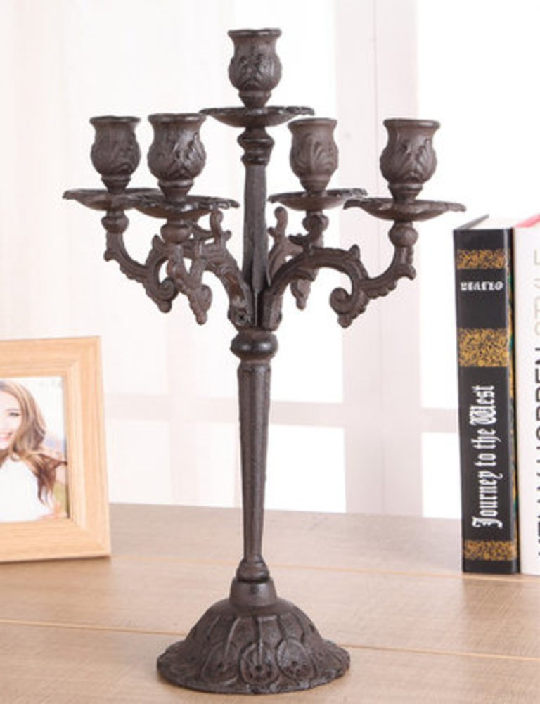 European candlelight dinner props,Vintage Candle holder,Iron Candlestick holders Carved antique candle table Home wedding decoration-A
