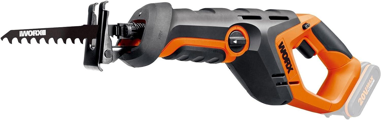 Worx wx508.920V batería Sierra de sable, velocidad 3,000U/min, 22mm Hub Longitud, luz de trabajo, pendular, 1pieza, sin batería, cargador y accesorios, color naranja/negro