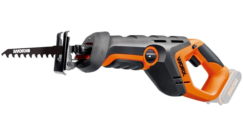 Worx wx508.9 20 V batería Sierra de sable, velocidad 3,000 U/min, 22 mm Hub Longitud, luz de trabajo, pendular, 1 pieza, sin batería, cargador y ...