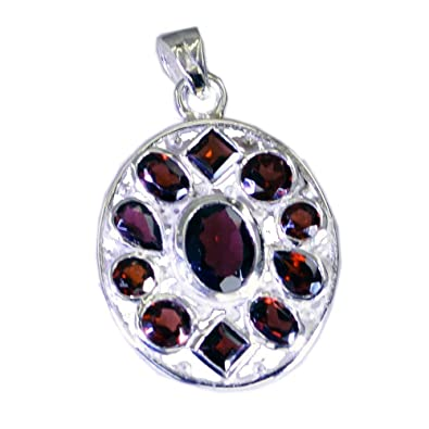 GEMSONCLICK Real Garnet Pendant for Women 925 Silver Charms Birthstone Chakra Healing Victorian Jewelry