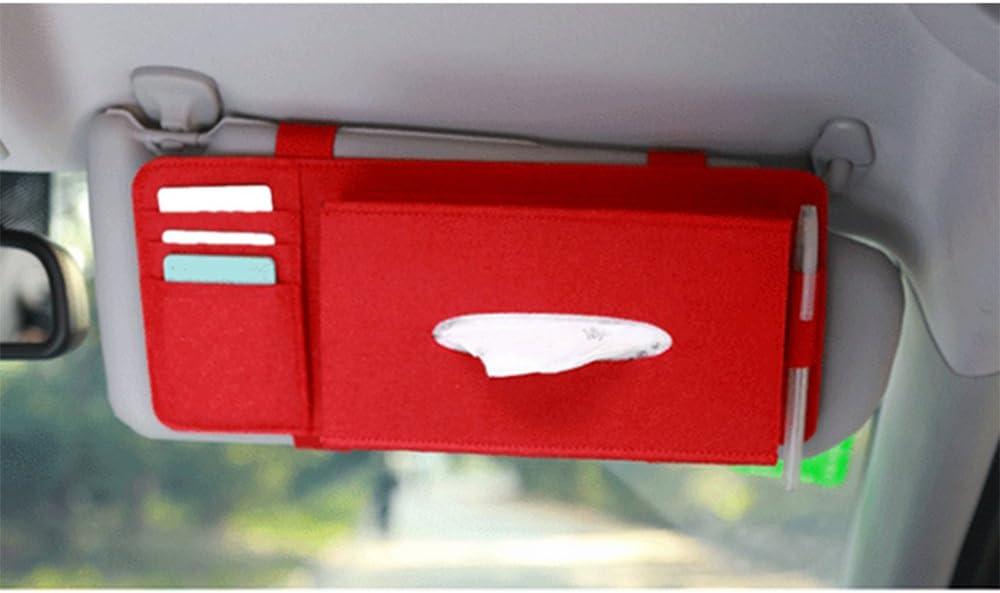 Kkmoon porta fazzoletti per parasole auto in feltro con tasche per oggetti da appendere