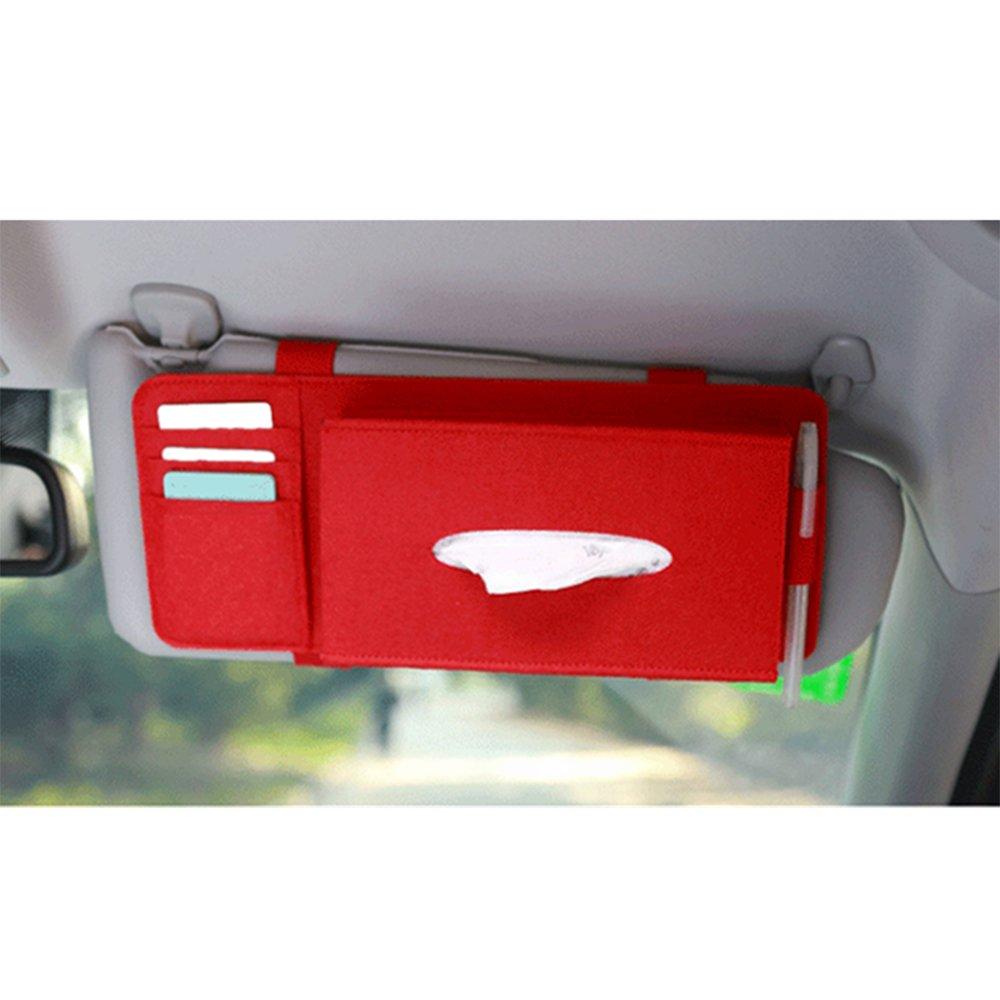 porta fazzoletti per parasole auto in feltro con tasche per oggetti da appendere Kkmoon