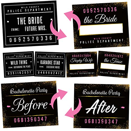 Bachelorette Party Mugshot Signs - Girls Night Out, Birthday, Wedding & Bachelorette Party Supplies Decorations - 21 Reversible Photo Booth Prop Signs - 42 Variations