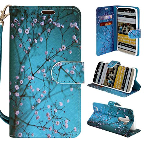 LG G3 Phone, Wallet Card Holder Customerfirst, PU Leather Pouch Flip Style Case Cover with Stand for LG G3 (Blooming Teal)
