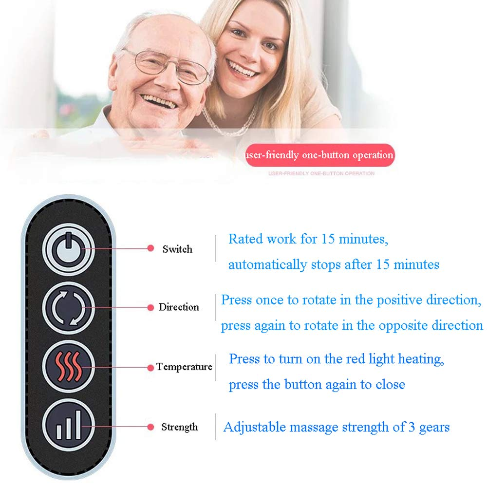 GAOQQ Shiatsu Back Neck and Shoulder Massager with Heat - Cervical Spine Kneading Multi-Function Massager for Office Home Car Use by GAOQQ (Image #2)