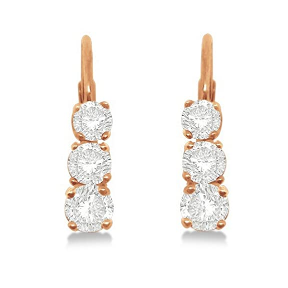 Allurez 14kt White Gold Three-stone Leverback Diamond Earrings LtlcIso