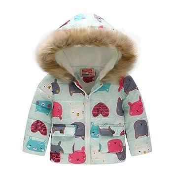 OOFAY Chaqueta de algodón para niños y niñas Abrigo de Invierno Acolchado cálido niños Imprimir Capucha Superior,Cats,120cm: Amazon.es: Hogar