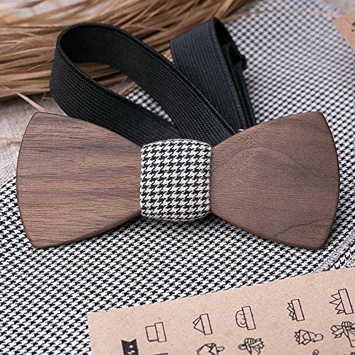 (Set Men's Wood Bow Tie + POCKET SQUARE. Natural American Walnut wood bow tie. Customized wedding bow tie. Groomsmen bow tie gifts. Boyfriend gift. Personalized. Laser engraving name, initials or logo)