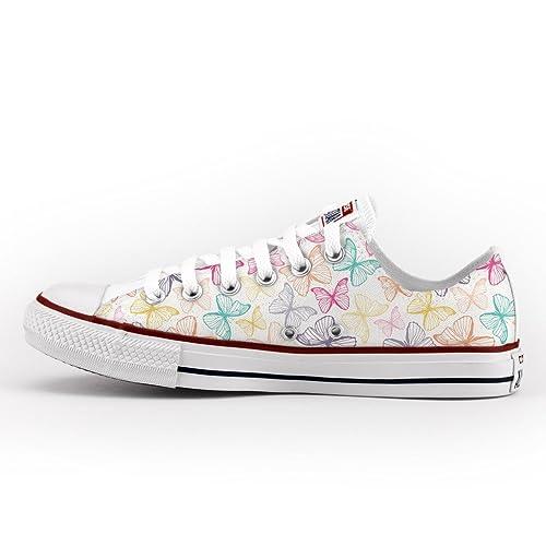 5c99b69ca1a94 Converse Personalizzate All Star Bassa - scarpe artigianali - Farfalle  colorate