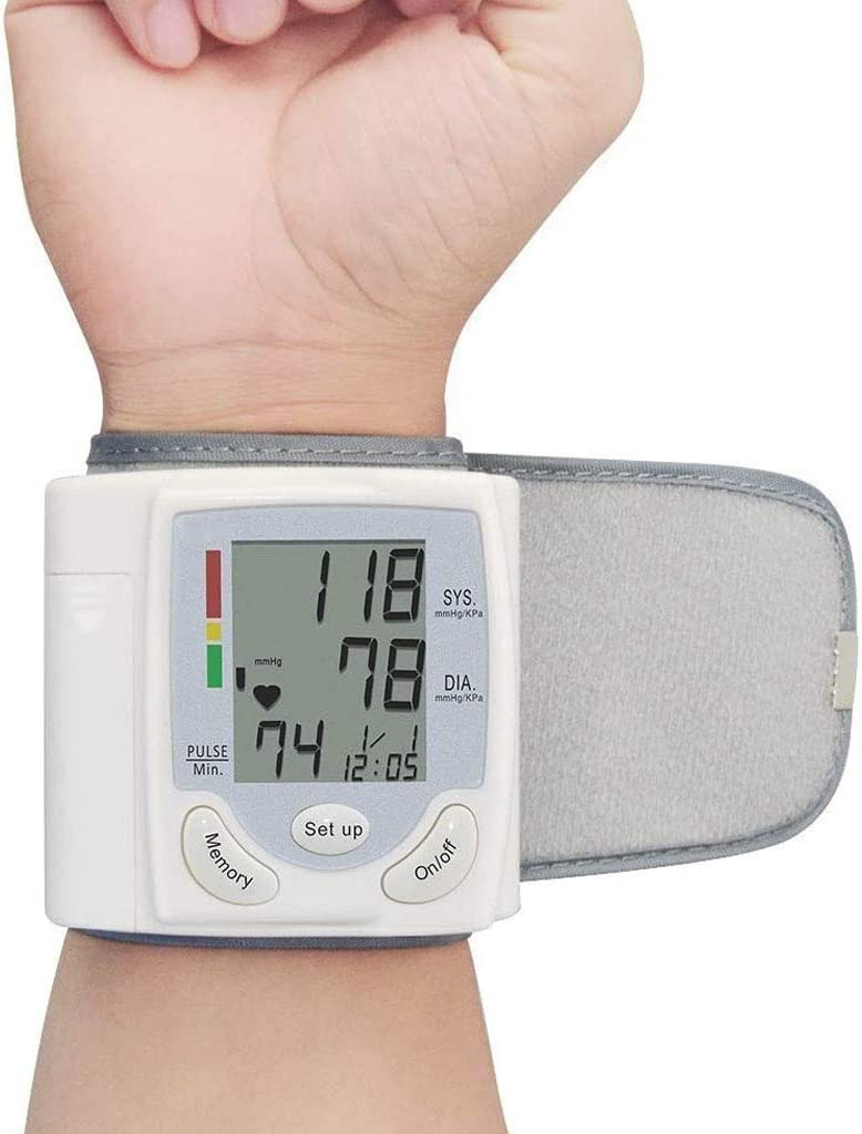 HONGER Wrist Blood Pressure Monitor for Home, Digital Automatic Measure Blood Pressure with Heart Rate Pulse Detection with LCD Display 2 User Mode
