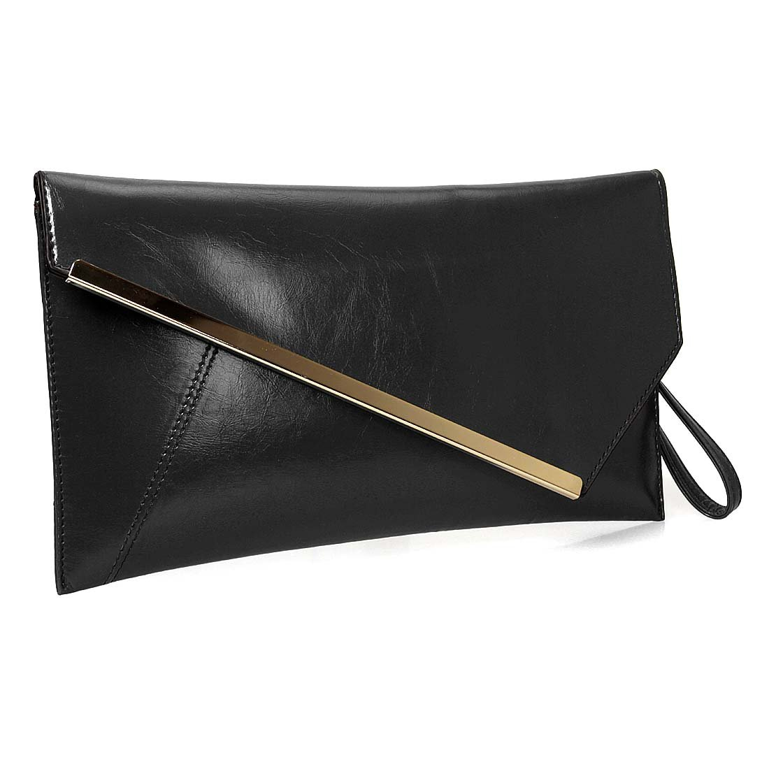 BMC Fashionably Chic Noir Black Faux Leather Gold Metal Accent Envelope Style Statement Clutch by b.m.c