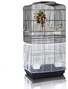 ASOCEA Extra Large Bird Cage Seed Catcher Guard Universal Birdcage Cover Nylon Mesh Net for Parrot Parakeet Macaw Lovebird African Grey - White (Not Include Birdcage)