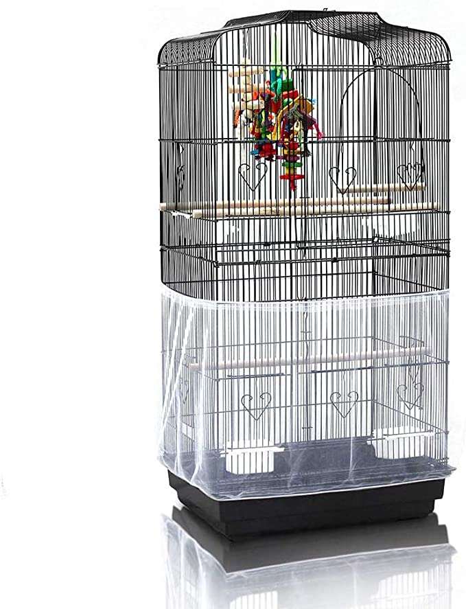 pranovo Bird Cage Seed Catcher Seeds Guard Parrot Nylon Mesh Net Cover Stretchy Shell Skirt Traps Cage Basket Soft Airy