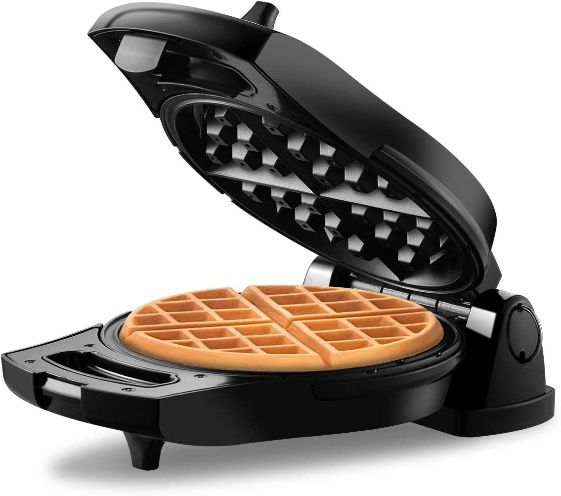 REDMOND Belgian Waffle Maker, 180 Flip Side Waffle Maker, 4-Slice Round Stainless Steel Anti-Overflow Waffle Iron with Temperature Control, Non-stick Plates, Cool Touch Handle, Compact Fast, 950W, WM002