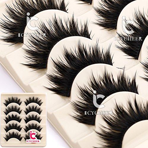 Soft Long Cosmetic False Eyelashes (Black) - 2