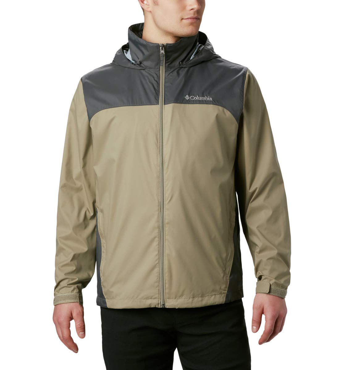 Columbia Men's Glennaker Lake Front-Zip Rain Jacket with Hideaway Hood, Tusk/Grill, XX-Large by Columbia