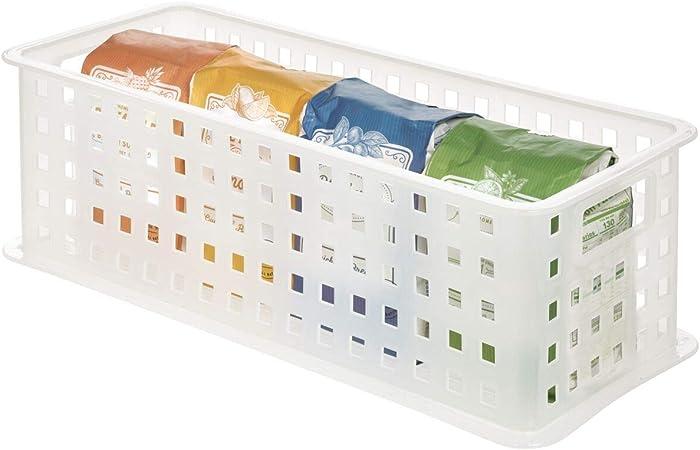 iDesign Caja organizadora con asas, organizador de baño de plástico para accesorios de ducha, cesta organizadora apilable para juguetes o material de artesanía, blanco: Amazon.es: Hogar