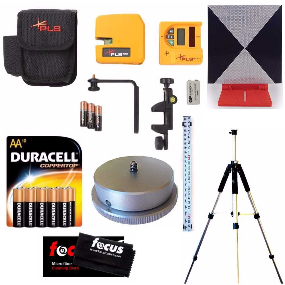 Pacific Laser Systems PLS 180 Red System W/ Detector, Grade Rod, Tripod, Adapter, Target, Batteries & Cleaning Cloth