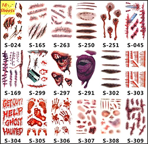 True Blood Costumes Bill (Body Tattoos Scar Layhome 18 Sheets Waterproof Halloween Temporary Stickers Party Prop)