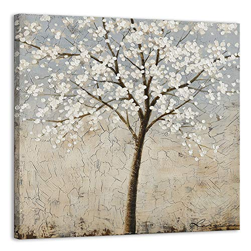 Kas Home Art Canvas Wall Art - Blooming White Flower Tree - Abstract Framed Art Stretched Canvas Painting Modern Wall Decor Ready to Hang (30 X 30 Inch, A Framed)