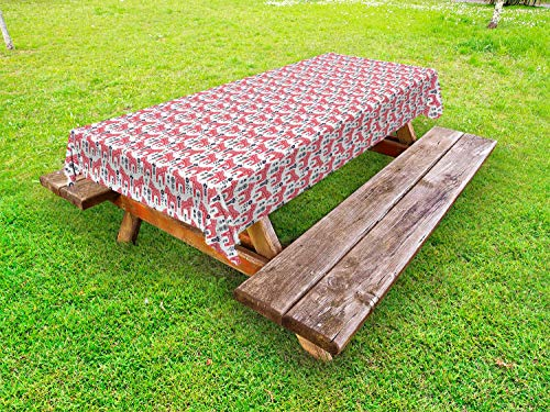 Ambesonne Ethnic Outdoor Tablecloth, Folk Inspired Swedish Dala Horse with Floral Ornaments Folklore Art, Decorative Washable Picnic Table Cloth, 58 X 84 Inches, Dark Coral Indigo and White