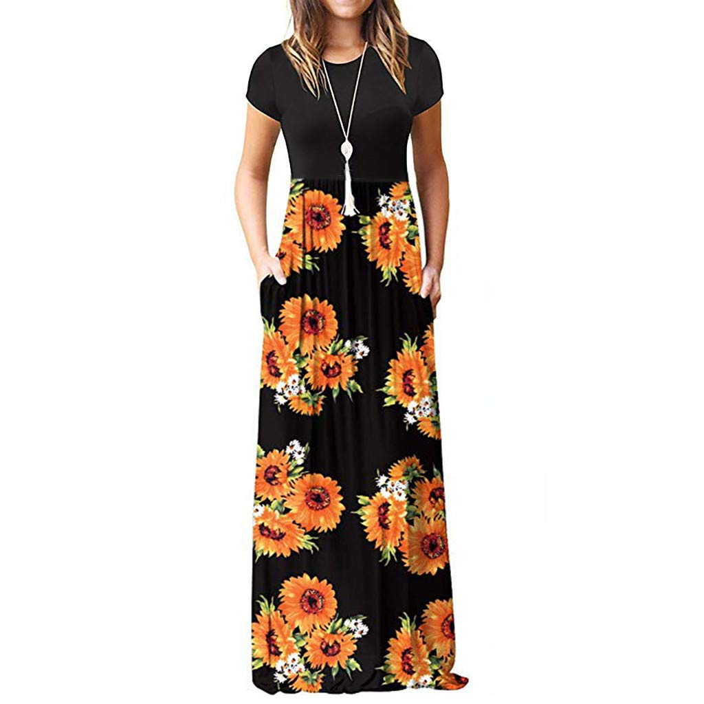 BAOHOKE Summer Fashion Sunflower Printed High Waist Long Dresses,Women's Pocket Pleated Short Sleeve Maxi Dress(Black,XXL)