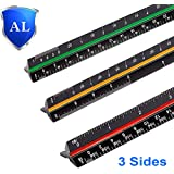 "Sooez 12"" Architectural Scale Ruler, Aluminum Color-Coded Grooves Triangular Scale Laser Etched Metal Triangular Architect Scale Ruler Solid Architecture Ruler, 1 Pack (Black)"