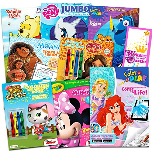 Disney Coloring Books for Kids Toddlers Bulk Set Bundle -- 8 Disney Books with Stickers and Door Hanger (Minnie Mouse and Friends)