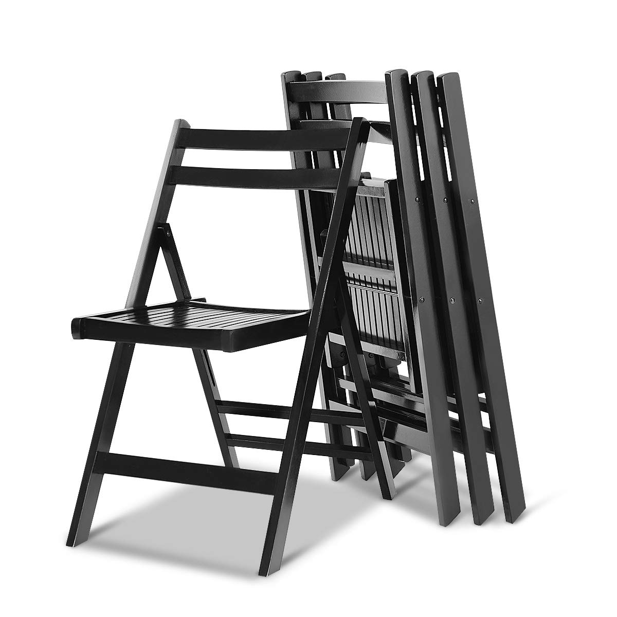 Giantex 4 Pcs Folding Chairs Foldable Seat Ergonomic Backrest for Wedding Patio Garden Home Furniture Solid Wood Portable Chairs for Living Room or Camping (Black)