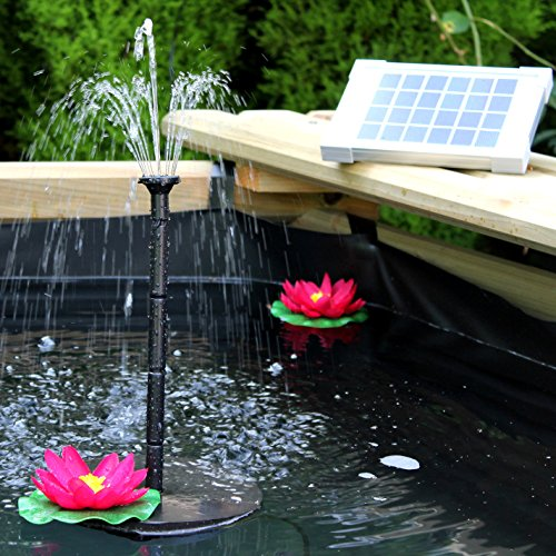 PK Green Solar Fountain Pump 2W - Floating Water Pump for Small Pond, Garden, Water Feature, Bird Bath 70 cm Height by PK Green
