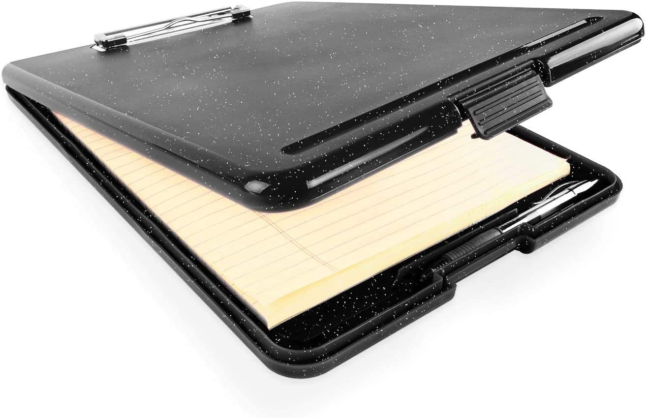 "Slim Plastic Nursing RN Style Coaches Clipboard with Open Foldable Storage, Classroom Teacher College Size (9.5"" x 13.5"") (Black White Splatter)"