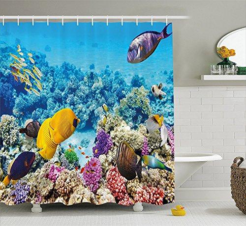 Ocean Decor Shower Curtain Marine Park Scenery with Sea Creatures Lagoon Jellyfish Scuba Dive Fauna Aqua Theme Fabric Bathroom Decor Set with Hooks