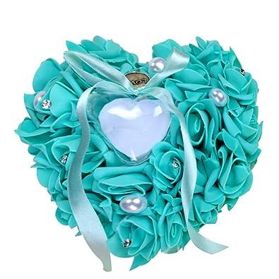 Woneart Romántica Almohada Anillo de Boda Forma corazón Anillo Cojín Almohada Anillo Cojín Caja Decoración Regalo para Boda Nupcial Ceremonia