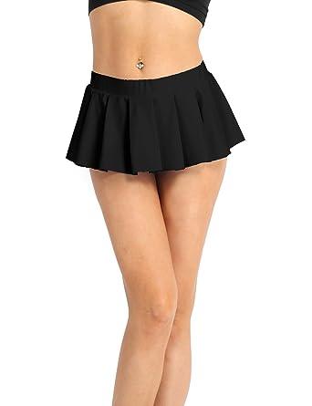4ee264f02 iEFiEL Women's Sexy Role Play Schoolgirl Pleated Mini Skirt Ruffle Lingerie  Black Medium