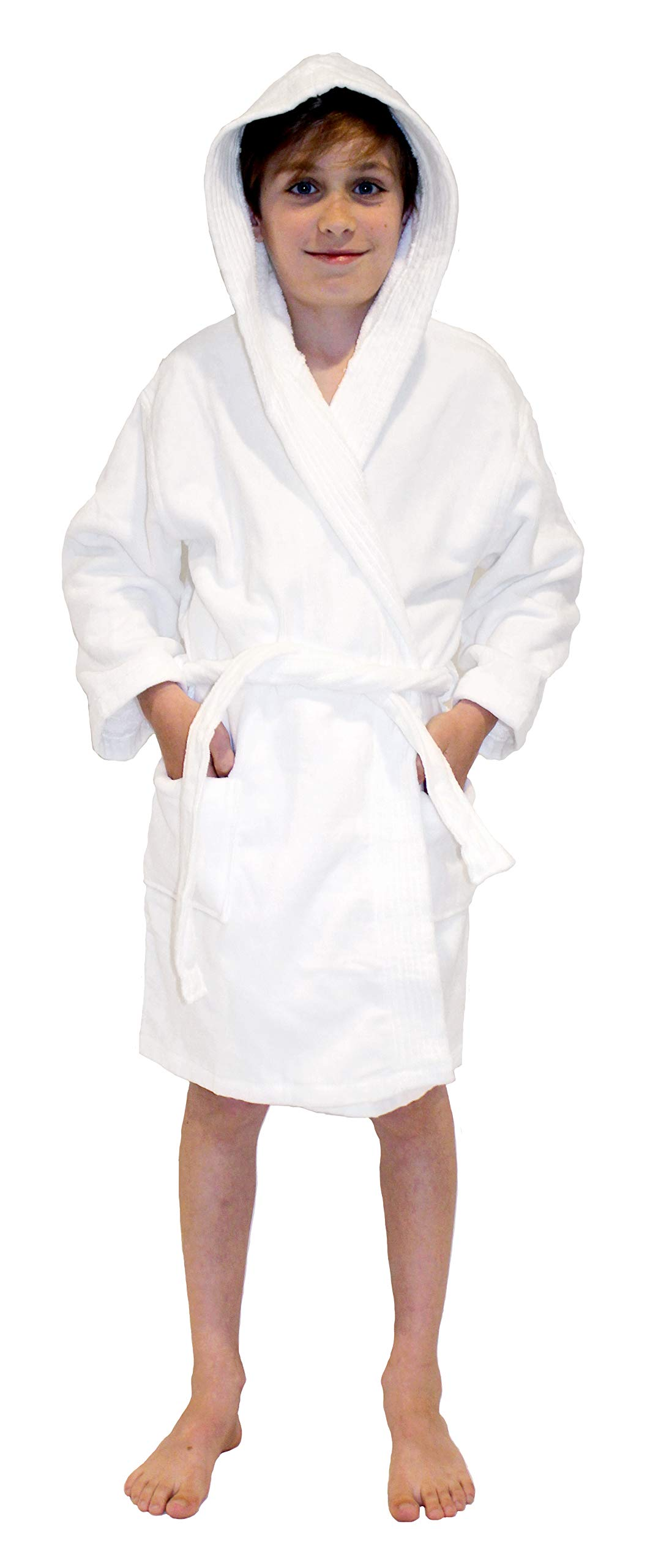 Hooded Boys, Girls Bathrobe - Kids Terry Velour Robes Used in 4,5 Star Hotels White by Monarch/Cypress