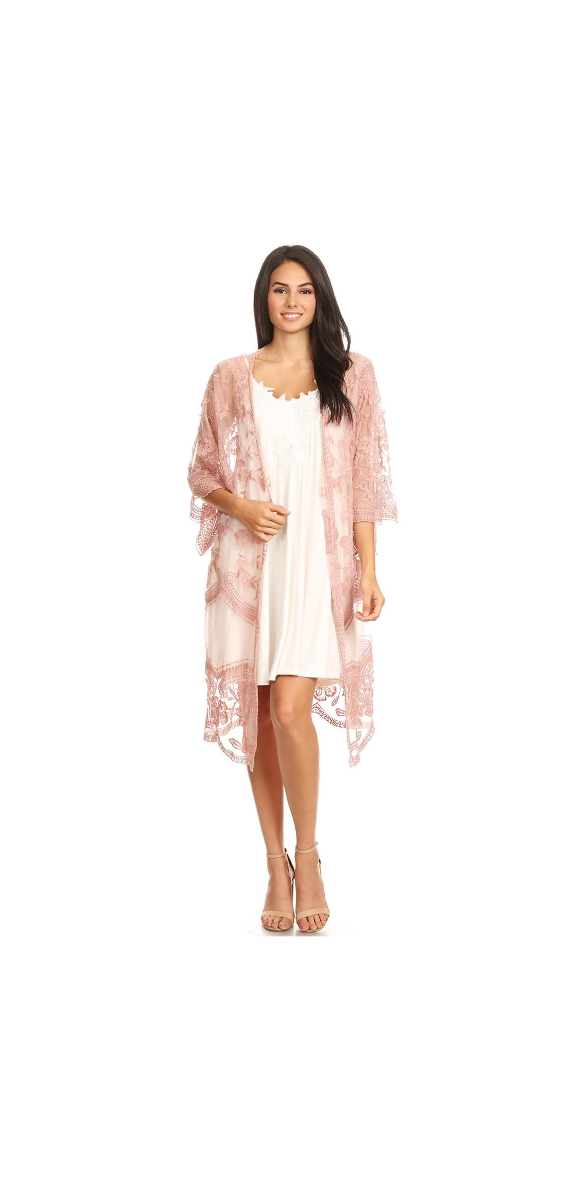 Womens Long Embroidered Lace Kimono Cardigan With Half