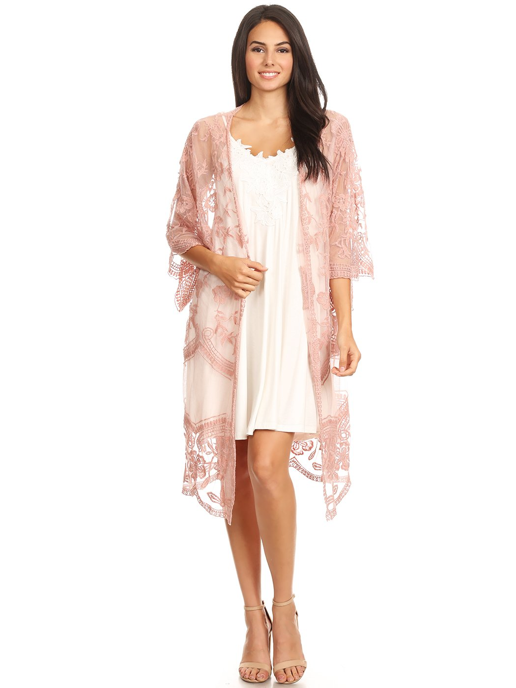 Anna-Kaci Womens Long Embroidered Lace Kimono Cardigan with Half Sleeves, Mauve, OneSize