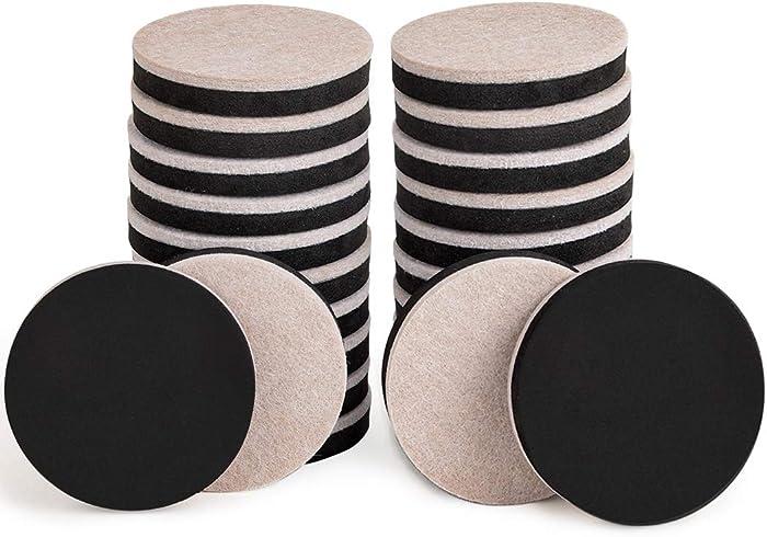 24PCS Furniture Sliders 2.5 Inch Felt Sliders Furniture Pads for Hardwood Floors and All Hard Surfaces