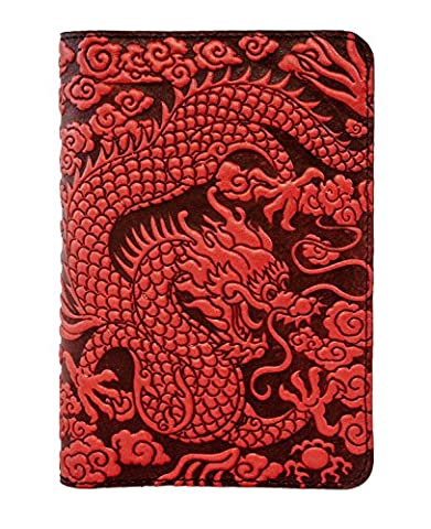 Oberon Design Cloud Dragon Pocket Notebook Cover | Fits 5.5 x 3.5 Notebooks, Embossed Leather, Red | Made in the - Oberon Journal