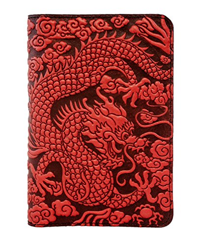 Oberon Design Cloud Dragon Pocket Notebook Cover, Fits Many 5.5 x 3.5 Inch Notebooks, Embossed Genuine Leather, Red, Made in The USA