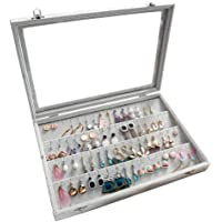 SONNIS Clear Lid Earrings Organizer Holder Velvet Jewelry Tray Display Showcase Storage 32 Pairs Earring Box Case Lockable(Earrings Box)