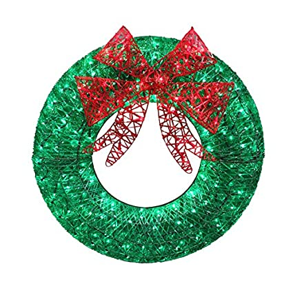 holiday living outdoor christmas decorations lowes outdoor holiday living 36in indooroutdoor green artificial wreath with multicolor led lights amazoncom