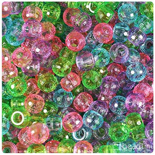 - BeadTin Soft Mix Transparenti 9mm Faceted Barrel Pony Beads (500pcs)