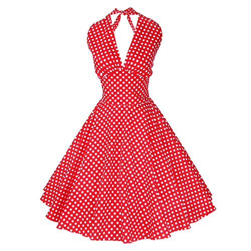 Maggie Tang Women's 1950s Vintage Rockabilly Dress Size M Color Red White -