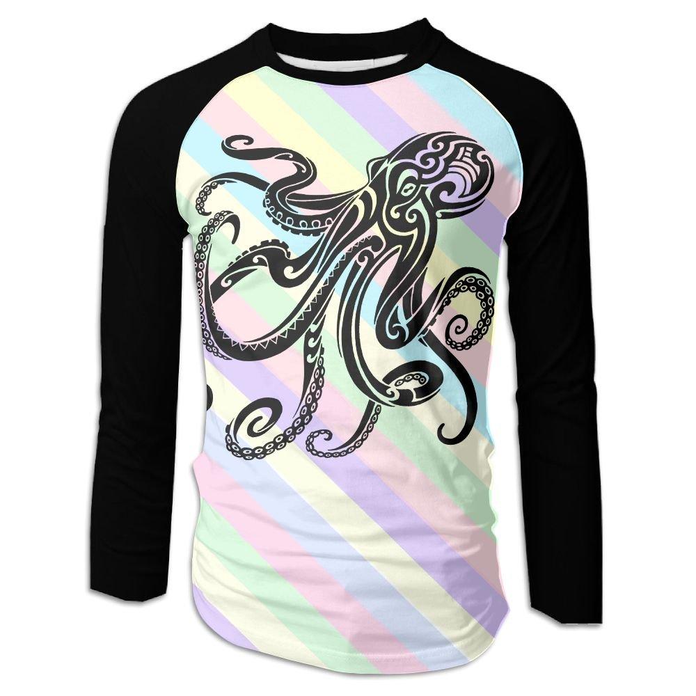 MASDUIH 3D Print Octopus Long Sleeve Shirt Baseball Shirt