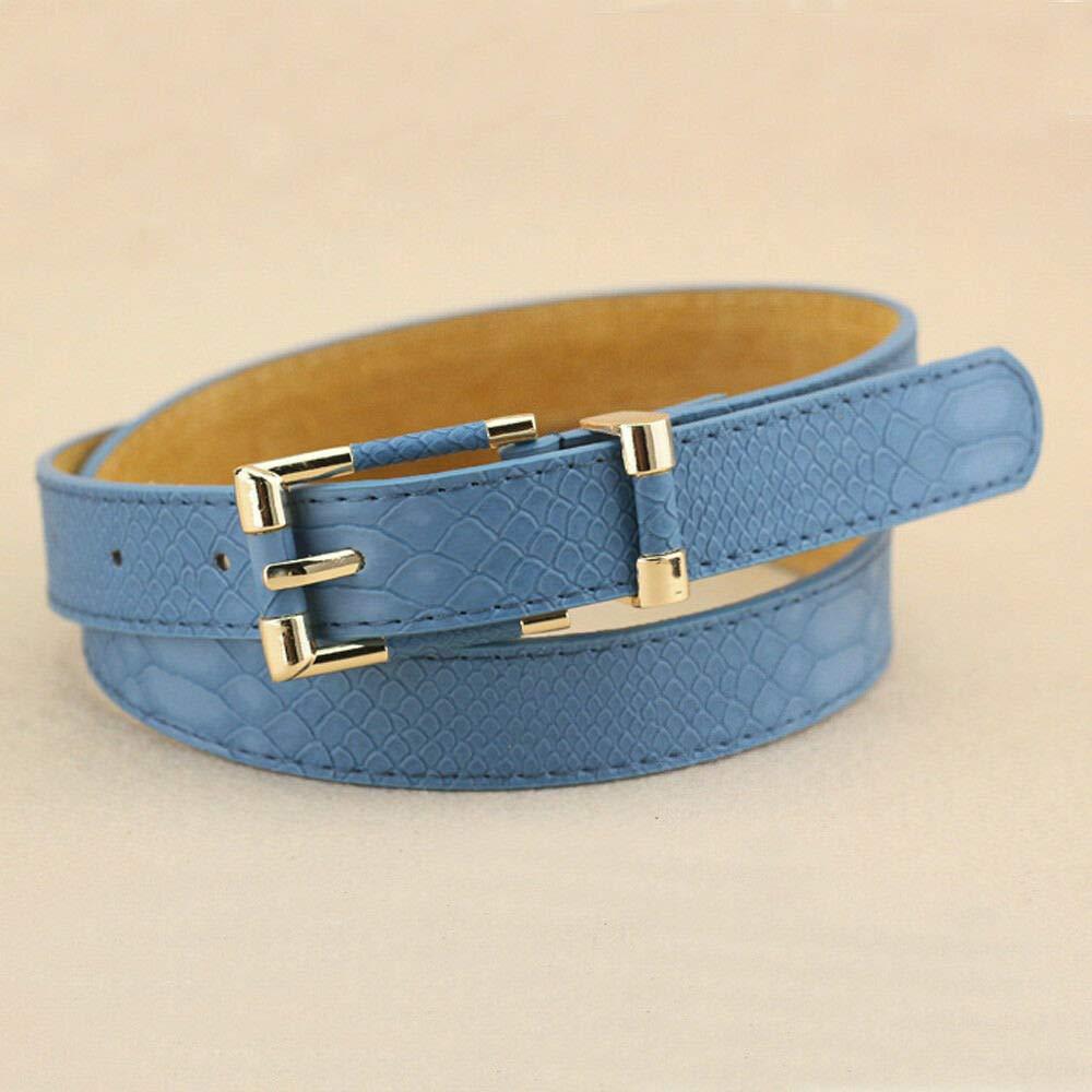 Leather Multipurpose Thin Buckle Ladys Belt Crocodile Pattern Decorative Belt Beautiful Elegant Girl Goodly Great Lovely Novelty Perfect Pretty Blue