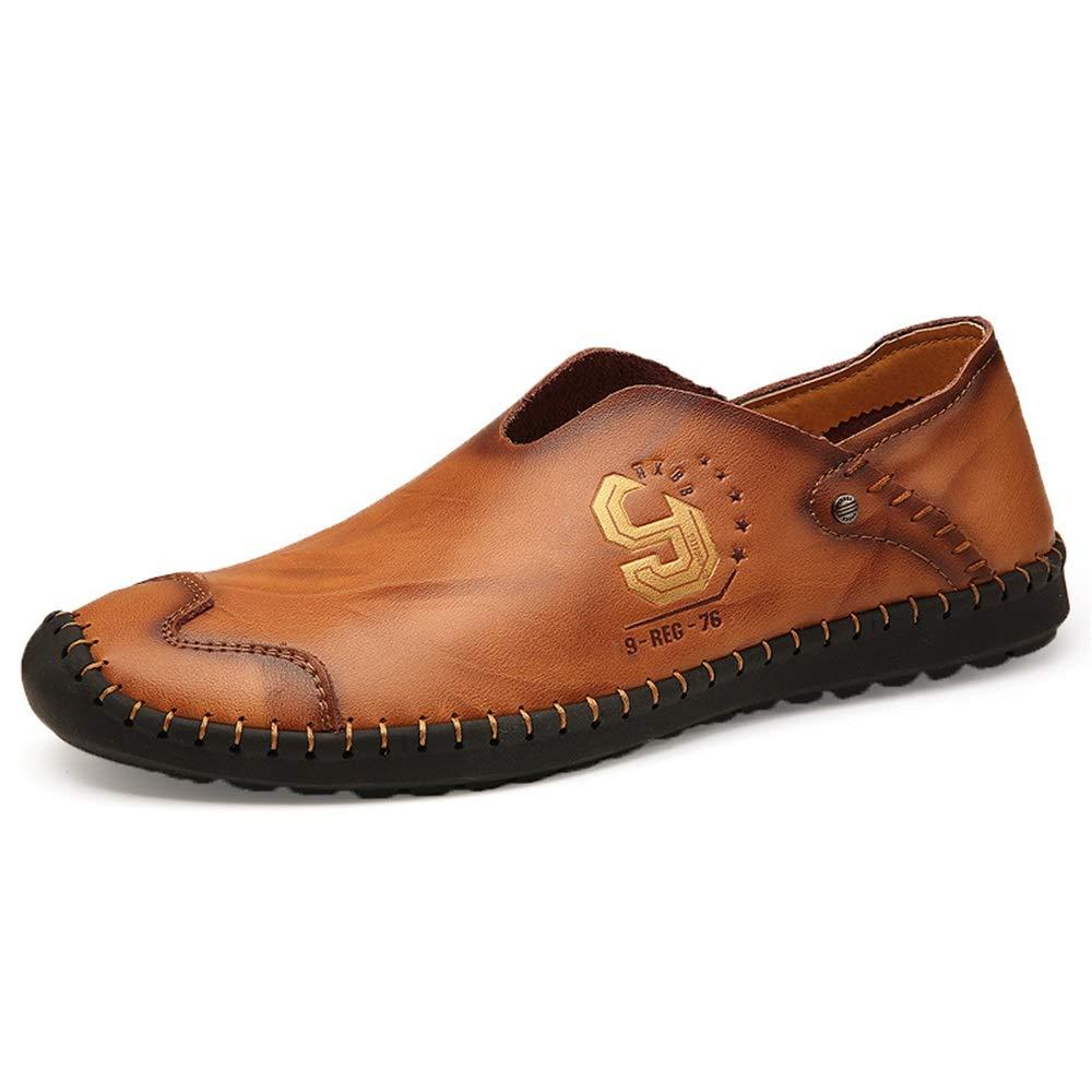 Fuxitoggo Männer Beiläufiges echtes Leder der Männer Fuxitoggo beschuht weiche alleinige beiläufige Rutschfeste Komfort-Treibende Schuhe (Farbe : Schwarz, Größe : EU 40) Gelb 5df375
